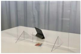 Spuck- und Niesschutz-Aufsteller mit Steckfüßen Hoch- oder Querformat